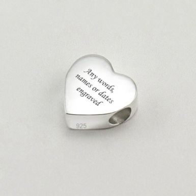 Sterling Silver Engraved Memorial Charm Bead, Heart | Someone Remembered